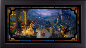 Beauty and the Beast Dancing in the Moonlight Stained Glass