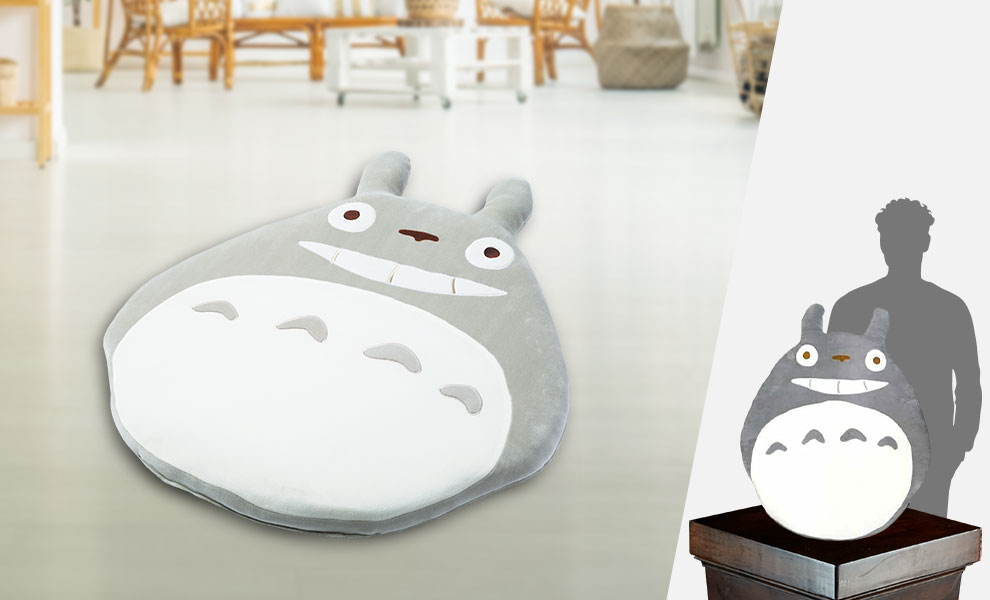 Gallery Feature Image of Big Grey Totoro Midday Nap Cushion Pillow - Click to open image gallery