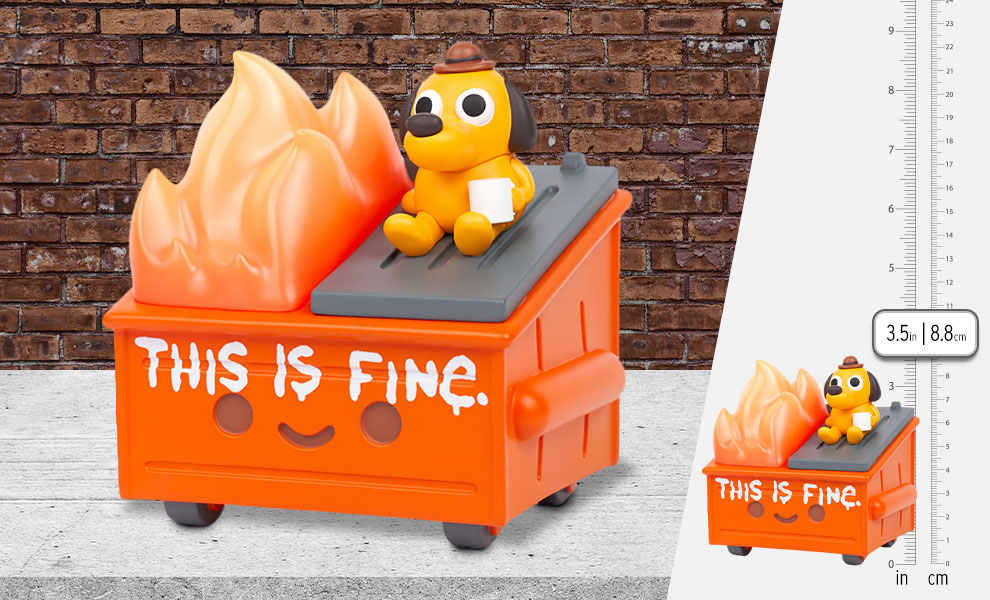 """Gallery Feature Image of """"This is Fine"""" Dumpster Fire Vinyl Collectible - Click to open image gallery"""