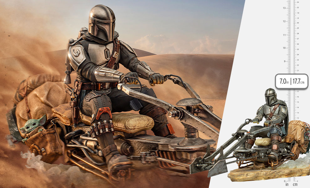 Gallery Feature Image of The Mandalorian on Speederbike Deluxe 1:10 Scale Statue - Click to open image gallery