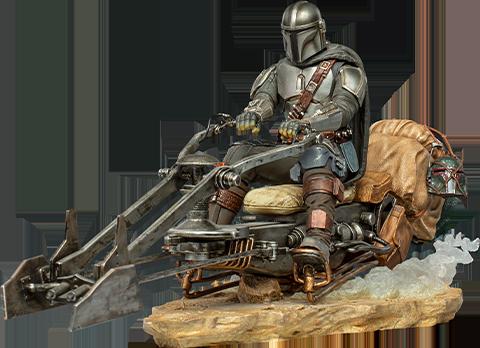 Iron Studios The Mandalorian on Speederbike Deluxe 1:10 Scale Statue