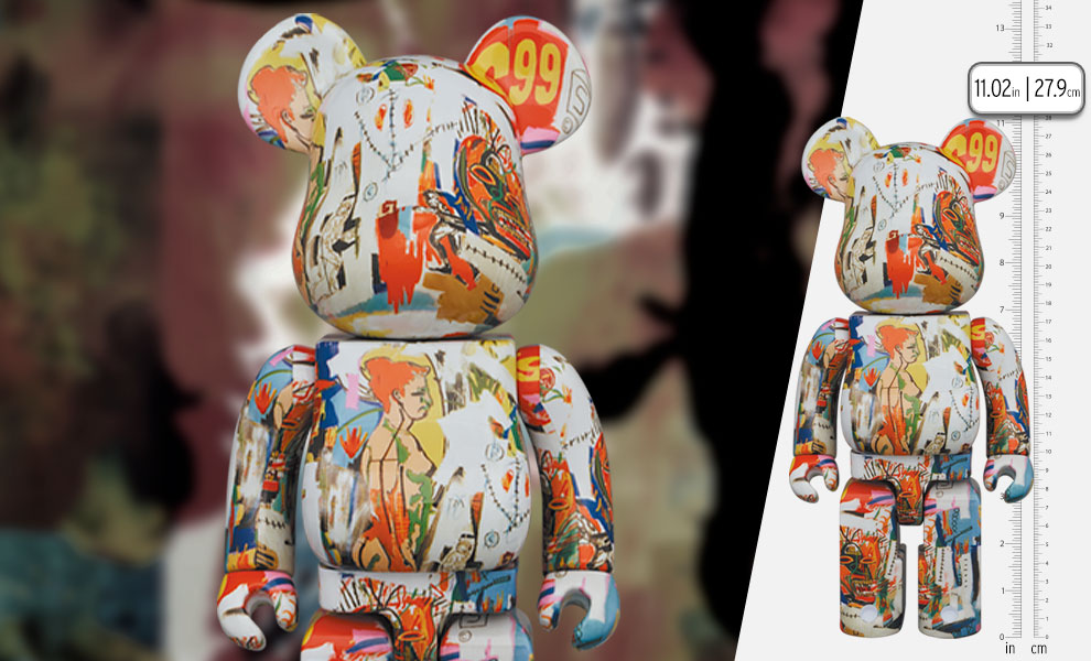 Gallery Feature Image of Be@rbrick Andy Warhol x JEAN-MICHEL BASQUIAT #4 400% Bearbrick - Click to open image gallery