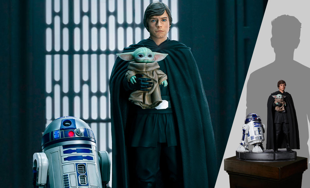 Gallery Feature Image of Luke Skywalker, R2-D2 and Grogu Statue - Click to open image gallery