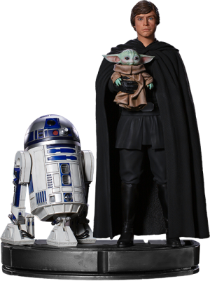 Luke Skywalker, R2-D2 and Grogu Statue