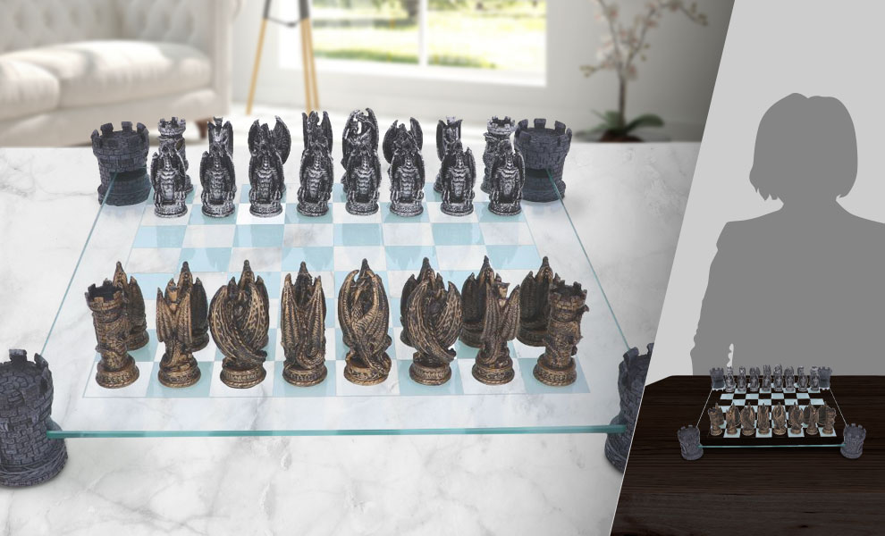 Gallery Feature Image of Kingdom of the Dragon Chess Set Board Game - Click to open image gallery