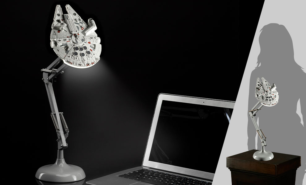 Gallery Feature Image of Millennium Falcon Posable Desk Light Collectible Lamp - Click to open image gallery