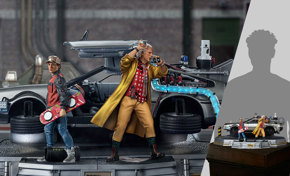 Gallery Feature Image of DeLorean Set Full Deluxe Version 1:10 Scale Statue - Click to open image gallery
