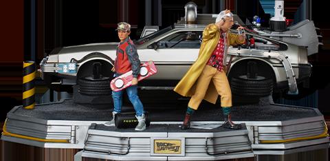 Iron Studios DeLorean Set Full Deluxe Version 1:10 Scale Statue
