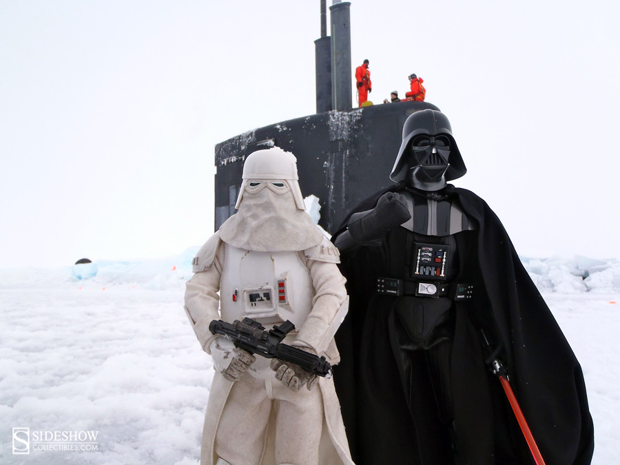 Snowtrooper and Darth Vader Deluxe Sixth Scale Figure in the arctic