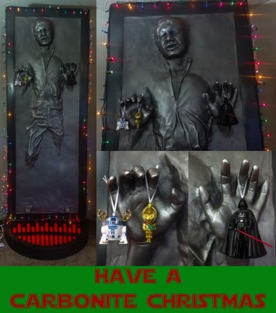 Deck the Han with lights and tinsel! Luckiest fan in the galaxy has a Carbonite Christmas
