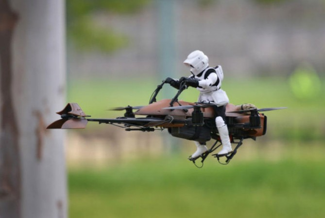 Fan-Made Imperial Scout Trooper on Speeder Bike quadcopter racing past trees is epic