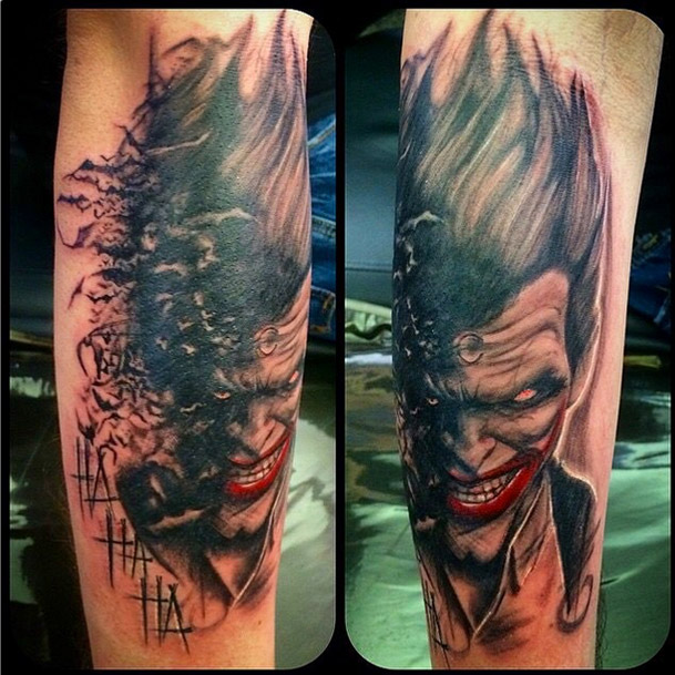 If you thought the joker s tattoos were insane check out for Joker batman tattoo