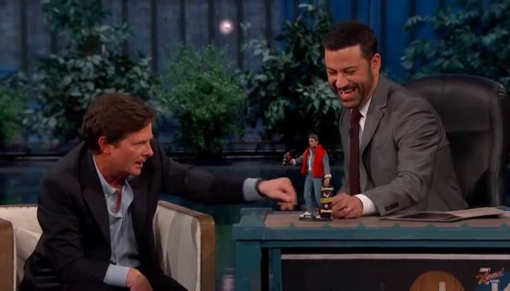 Michael J. Fox checks out the Hot Toys Marty McFly figure on Jimmy Kimmel Live