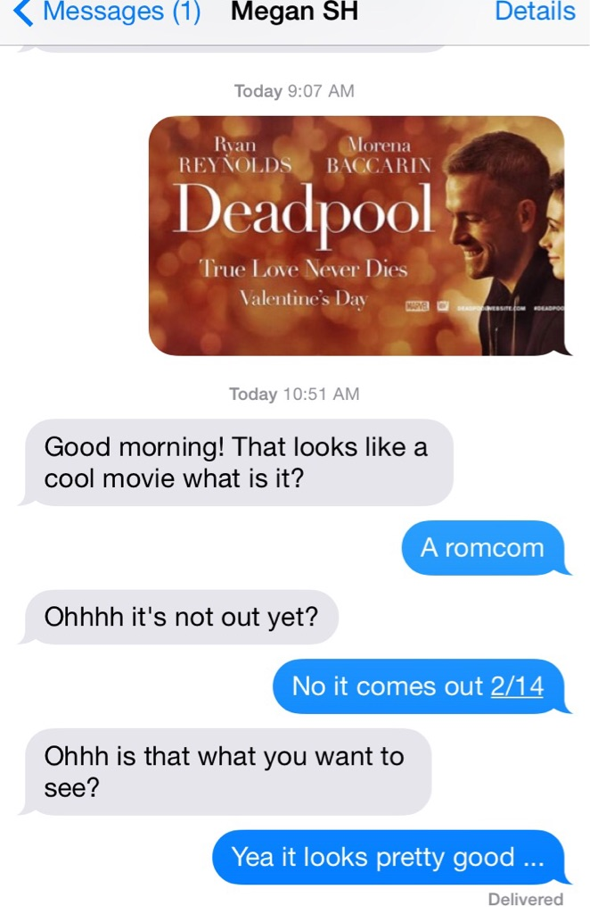 how fans are tricking unsuspecting girlfriends into seeing deadpool for valentines day - Valentines Day Texts
