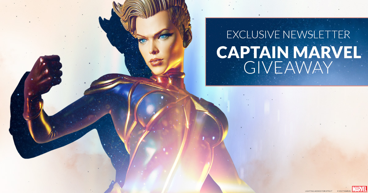 Captain Marvel Statue 2017 February Newsletter Giveaway