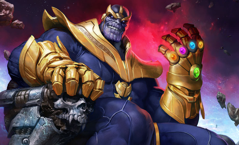 Anime Characters Vs Thanos : Thanos on throne premium art print sideshow collectibles