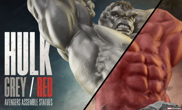 Grey and Red Hulk Statues