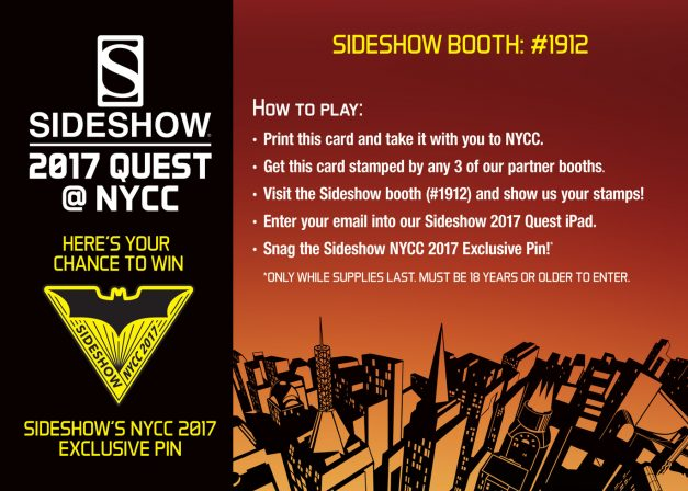 Sideshow NYCC 2017 Pin Quest Card