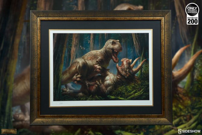 Delve into Dinosauria in a New Way with the T-Rex VS Triceratops Premium Art Print