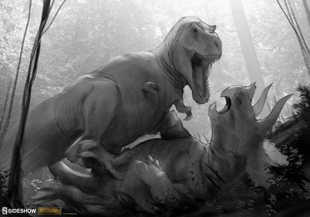 See Behind the Scenes of the T-Rex Vs. Triceratops Premium Art Print!