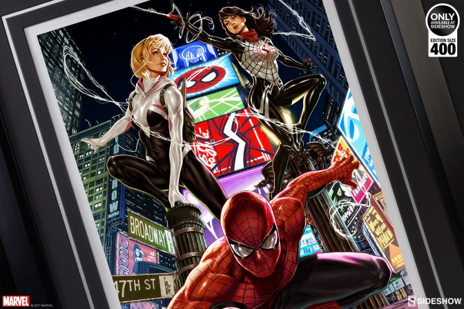 Step into the Web of the Spider-Verse Premium Art Print by Mark Brooks!