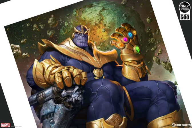 Conquer the Cosmos with the Thanos on Throne Variant Premium Art Print