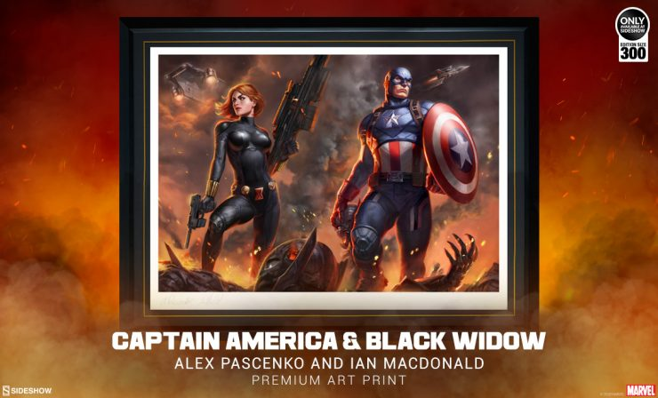 Captain America & Black Widow Premium Art Print