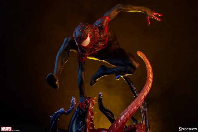 The Spider-Man Miles Morales Premium Format™ Figure Swings into Action!