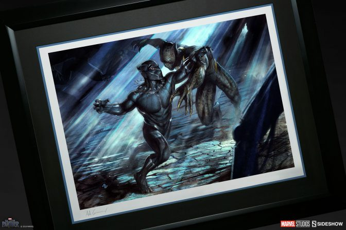 Black Panther and Erik Killmonger Fight for the Fate of Wakanda in the New MCU Fine Art Print