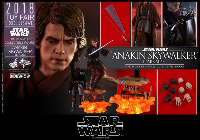 Anakin Skywalker Dark Side Version Comic-Con 2018 Exclusive Joins the Star Wars Collectibles from Hot Toys