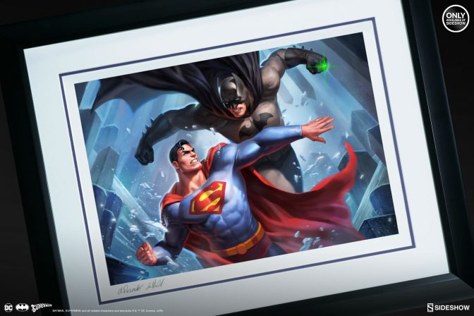 Witness a Super Hero Showdown in the Batman vs Superman Fine Art Print by Alex Pascenko and Ian MacDonald