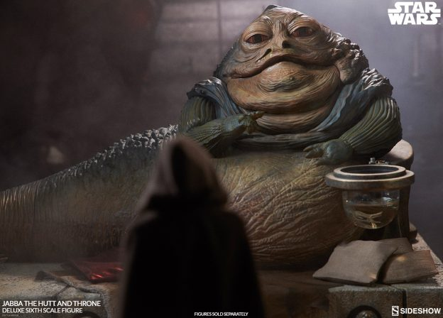 Behold the Illustrious Jabba the Hutt™ and Throne Deluxe Sixth Scale Figure Set!