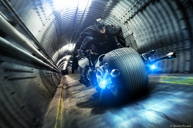 Batman on BatCycle Forced Perspective
