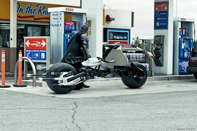 Batman Fueling BatCycle Forced Perspective with Figures