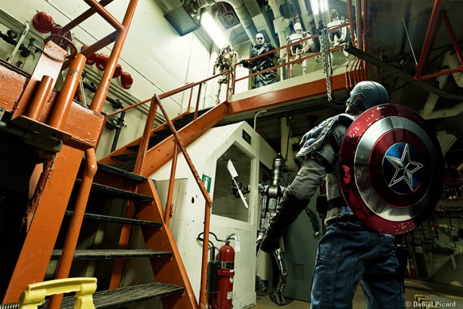 Captain America in a Warehouse- Figure Forced Perspective