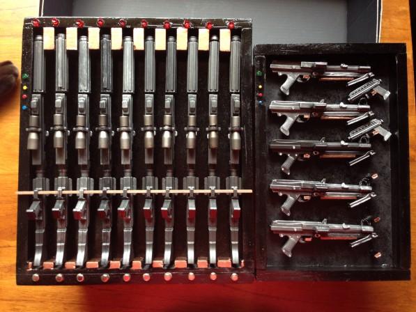 Fan-crafted miniature Star Wars gun racks