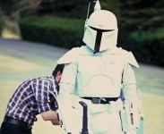 "Ben Burtt screen-testing the original Boba Fett costume at George Lucas's home for the filmmaker and ""The Empire Strikes Back"" crew, circa June 1978"