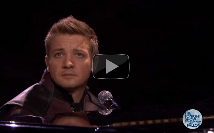 We could watch Jeremy Renner sing about Hawkeye's powers all day