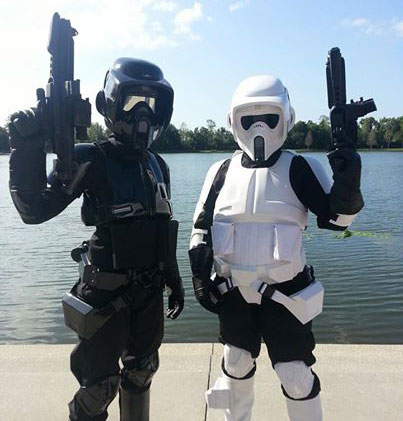 My mom, Stacey, is the biker scout on the right, I'm the shadow scout on the left. We are both in the 501st Legion and she is why I am in love with Star Wars! - Savanna K.