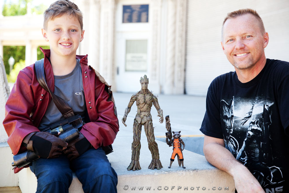 Shawn and Gavin Richter with Hot Toys Rocket & Groot