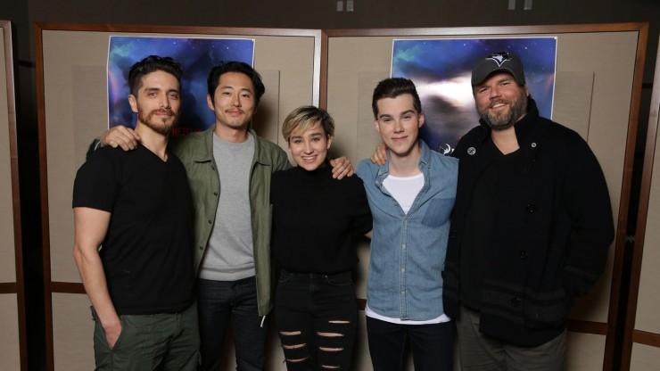 Josh Keaton (Shiro), Steven Yeun (Keith), Bex Taylor-Klaus (Pidge), Jeremy Shada (Lance) and Tyler Labine (Hunk).