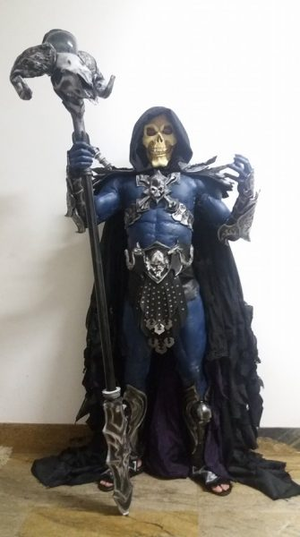 Our Skeletor Statute Has A Life-Sized Cosplay Variant – sort of.