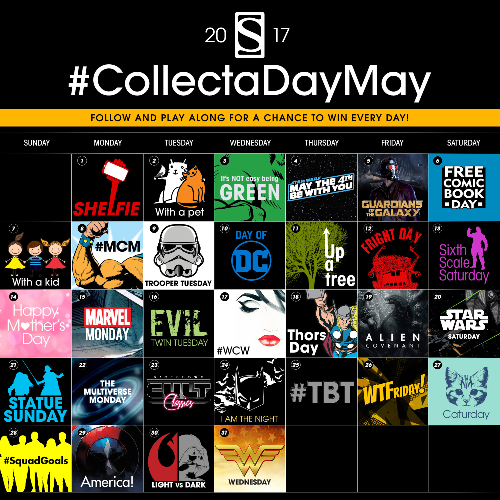 Celebrate Collect-A-Day May 2017 with Sideshow on Instagram