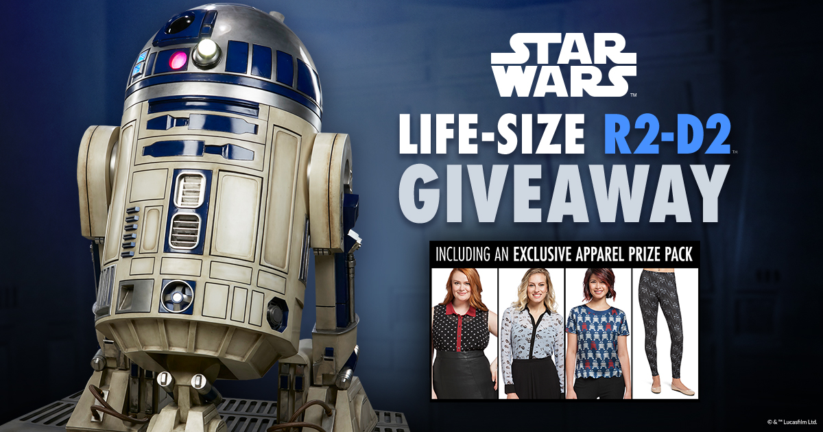Star Wars R2-D2™ Life-Size Figure and Think Geek Her Universe Apparel Giveaway