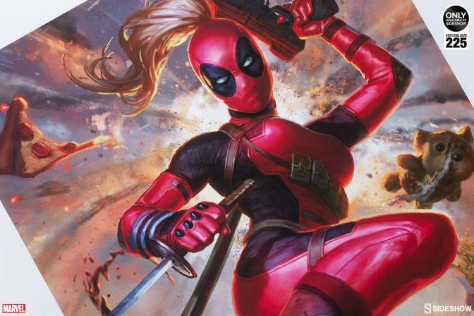 Prepare Your Face for this Explosive Lady Deadpool Premium Art Print!
