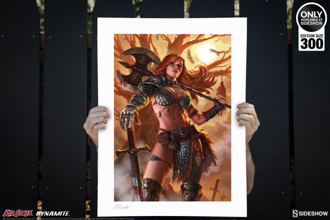 She's Not Here to Axe You Nicely- Red Sonja: Queen of Scavengers Premium Art Print