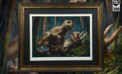 T-Rex VS Triceratops Premium Art Print