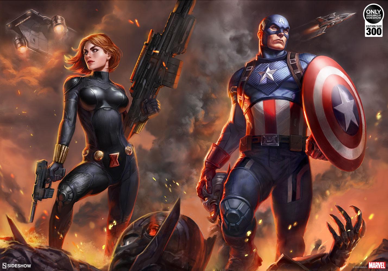 Captain America And Black Widow Team Up In New Premium Art