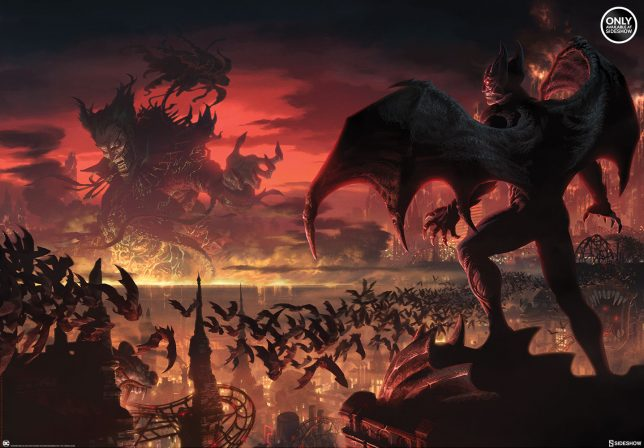 Darkness Falls in the Batman Gotham City Nightmare Premium Art Print