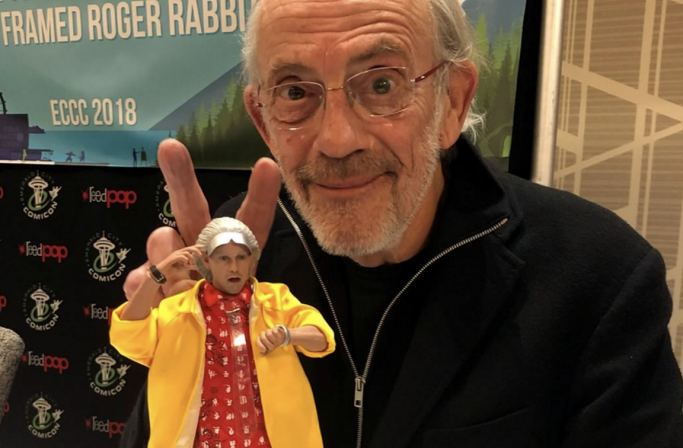Christopher Lloyd Poses with Doc Brown Sixth Scale- Great Scott!